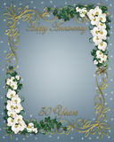 Ivy and Orchids 50th Anniversary. Illustration and image composition for background, border, wedding invitation or template with copy space Stock Image