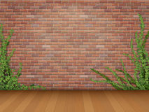 Ivy red brick wall parquet floor. Ivy branches on old red brick wall and parquet floor background stock illustration