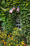 Ivy Window. Flowers and flags frame an ivy-crowded window in Charlton, New York Royalty Free Stock Image