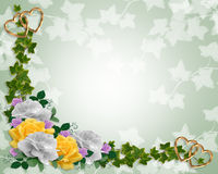 Ivy and yellow roses Floral Border  Stock Image