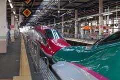 Iwate, Japón - abril 27,2014: La serie verde E5 y el E6 rojo imagen de archivo