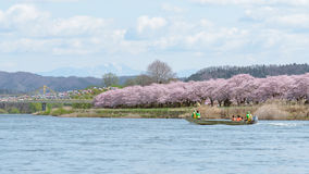Iwate, Japan - April 19 : Tourist boat and Kitakami riverside Ch Royalty Free Stock Photography