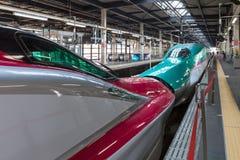 Iwate Japonia, Kwiecień, - 27,2014: E5 i E6 serii Shinkansen pociska pociągi Fotografia Stock