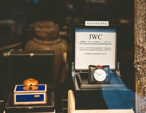 IWC luxury watch in the window of a store in Baden-Bade Stock Photos