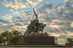 Iwo Jima Memorial på soluppgång Arkivbild