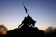 Iwo Jima Memorial Before Sunrise. A view of the Iwo Jima Memorial in Arlington, Virginia just before sunrise Stock Images