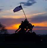 Iwo Jima Memorial sunrise silhouette. This is a silhouette of the Iwo Jima (Marine Corps) Memorial in Arlington Virginia at sunrise Royalty Free Stock Photo