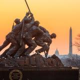 Iwo Jima Memorial Washington DC USA på soluppgång Arkivbild