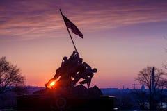 Iwo Jima Memorial Washington DC USA at sunrise. Iwo Jima Memorial(Marine Corps War Memorial) Washington DC USA at sunrise Stock Images