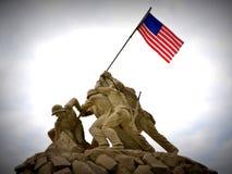 Iwo Jima Statue. Sept. 2013 - Replica of Iwo Jima statue at the entrance to Quantico Marine Corps Base, Quantico, VA Stock Photography