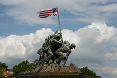 Iwo Jima Statue in Washington DC. WASHINGTON DC - AUGUST 20:  Iwo Jima statue in Washington DC on August 20, 2012.  The statue honors the Marines who have died Royalty Free Stock Image