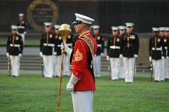 Iwo Jima War Memorial Arlington - Sunset Ceremony Royalty Free Stock Image