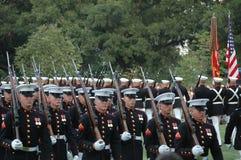 Iwo Jima War Memorial Arlington - Sunset Ceremony Stock Photo