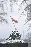 Iwo Jima In Winter Snow. Iwo Jima Memorial in Winter Snow Royalty Free Stock Photos