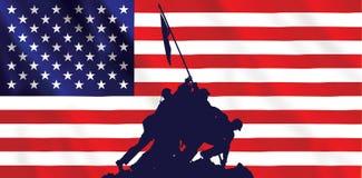 Iwo- Jimaamerikanische Flagge Stockfotos