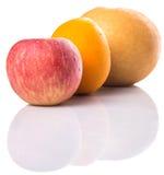 节目苹果、亚洲梨和桔子IX 免版税库存图片