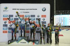 IX faza końcowa Biathlon puchar świata IBU BMW 24 03 2018 Obraz Stock