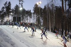 IX faza końcowa Biathlon puchar świata IBU BMW 24 03 2018 Zdjęcia Stock