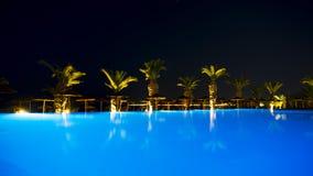 Ixia Grand Hotel basen w wieczór świetle obraz stock