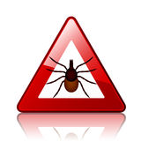 Ixodes ricinus tick road warning sign Stock Images