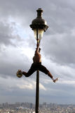 Iya Traore - a professional soccer player makes a soccer freestyle demonstration in Paris on Montmartre Stock Photos