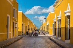 Izamal, de gele koloniale stad van Yucatan, Mexico stock afbeelding