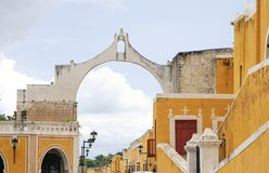 Street view of Izamal the yellow town in Yucatan Mexico. stock photo