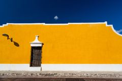 Izamal, Mexico. Yellow building wall stock images