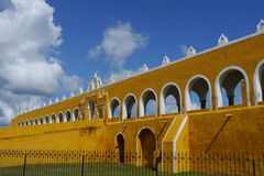 Izamal Mexico Yucatan church yellow City monastery convent Royalty Free Stock Images