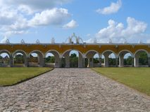 Izamal Mexico Yucatan church yellow City monastery convent Royalty Free Stock Image