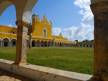 Izamal Mexico Yucatan church yellow City monastery convent Stock Photos