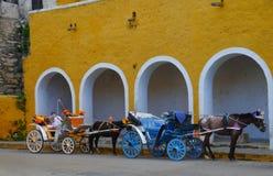 Izamal Mexico Yucatan church yellow City monastery convent. Travel Royalty Free Stock Photo