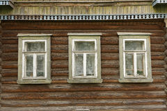 Izba wall. Wall of old rural Russian hous Izba Stock Photos