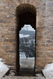 Izborsk堡垒在冬天 库存图片
