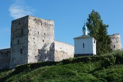Izborsk fortress and the chapel of Our Lady of Korsun. Izborsk, Russia Royalty Free Stock Photos