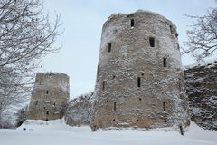 Izborsk Fortress near Pskov, Russia. Russian winter. Royalty Free Stock Photos