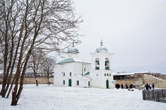 Izborsk fortress in winter, and St. Nicholas Cathedral Stock Photo