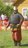 IZBORSK, RUSSIA - AUGUST 6: Unidentified man in a. Knightly armor take part in festival Iron hailstones on August, 6 2011 in Izborsk, the Pskov area, Russia Stock Photo