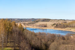 Among Izborsko hills. Izborsk territory and its surroundings is located on the northwestern Russian platform in the Pechora district of Pskov region Stock Photo