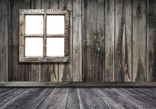 izbowy wewnętrzny rocznika okno z drewnianym ściany i podłogi backgrou fotografia stock