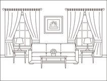 Izbowy wnętrze z okno w płaskim projekcie Konturu wektoru illustr royalty ilustracja