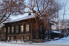 Izhevsk. Old two-storey wooden house. Stock Photography