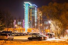 izhevsk Opinión de la tarde de las calles de la ciudad del invierno Fotografía de archivo