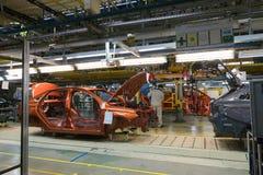 Izhevsk Rosja, Grudzień, - 15 2018: Linii montażowej produkcja nowy LADA samochód przy samochód fabryką AVTOVAZ na Grudniu fotografia stock