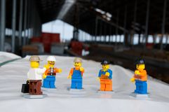 Izhevsk, Russia-April 06 2019: Meeting at a construction site. Production meeting at the construction site in miniature. stock images