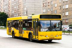 MAZ 103. Izhevsk, Russia - August 27, 2018: Yellow city bus MAZ 103 in the city street stock image