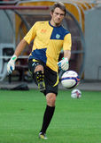 Izidor Balazic of NK Domzale. Domzale's Izidor Balazic pictured during the warm up before the UEFA Europa League qualifying round game between Astra Giurgiu and Royalty Free Stock Images