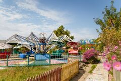 Outdoor play center for children with different activities and attrations. Entertainment concept