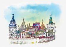 izmailovo kremlin moscow Moskva som är rysk Vattenfärgen skissar royaltyfri illustrationer