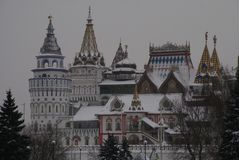 Izmailovo Kremlin in Moscow, Russia. Historically cultural sights of the Izmailovo Kremlin in Moscow, winter, Russia, Maslenitsa Stock Image